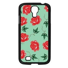 Floral Roses Wallpaper Red Pattern Background Seamless Illustration Samsung Galaxy S4 I9500/ I9505 Case (black) by Simbadda