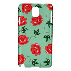 Floral Roses Wallpaper Red Pattern Background Seamless Illustration Samsung Galaxy Note 3 N9005 Hardshell Case
