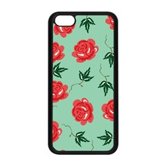 Floral Roses Wallpaper Red Pattern Background Seamless Illustration Apple Iphone 5c Seamless Case (black) by Simbadda