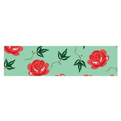 Floral Roses Wallpaper Red Pattern Background Seamless Illustration Satin Scarf (oblong)