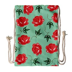 Floral Roses Wallpaper Red Pattern Background Seamless Illustration Drawstring Bag (large)