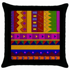 Abstract A Colorful Modern Illustration Throw Pillow Case (black)