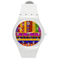 Abstract A Colorful Modern Illustration Round Plastic Sport Watch (m) by Simbadda