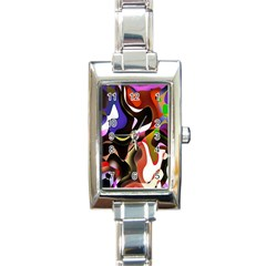Colourful Abstract Background Design Rectangle Italian Charm Watch by Simbadda