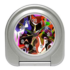 Colourful Abstract Background Design Travel Alarm Clocks by Simbadda