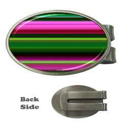 Multi Colored Stripes Background Wallpaper Money Clips (oval)  by Simbadda