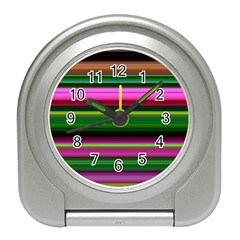 Multi Colored Stripes Background Wallpaper Travel Alarm Clocks by Simbadda