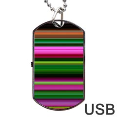 Multi Colored Stripes Background Wallpaper Dog Tag Usb Flash (one Side) by Simbadda