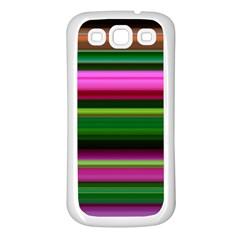 Multi Colored Stripes Background Wallpaper Samsung Galaxy S3 Back Case (white) by Simbadda