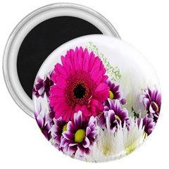 Pink Purple And White Flower Bouquet 3  Magnets