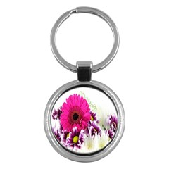 Pink Purple And White Flower Bouquet Key Chains (round)  by Simbadda
