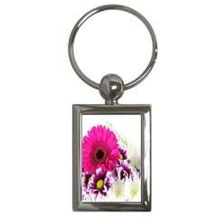 Pink Purple And White Flower Bouquet Key Chains (rectangle)  by Simbadda