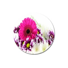 Pink Purple And White Flower Bouquet Magnet 3  (round) by Simbadda