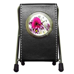 Pink Purple And White Flower Bouquet Pen Holder Desk Clocks by Simbadda