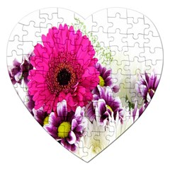 Pink Purple And White Flower Bouquet Jigsaw Puzzle (heart)