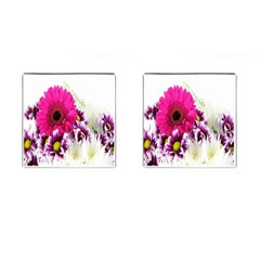 Pink Purple And White Flower Bouquet Cufflinks (square) by Simbadda