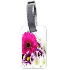 Pink Purple And White Flower Bouquet Luggage Tags (one Side)  by Simbadda