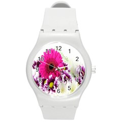 Pink Purple And White Flower Bouquet Round Plastic Sport Watch (m) by Simbadda