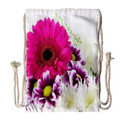 Pink Purple And White Flower Bouquet Drawstring Bag (large) by Simbadda