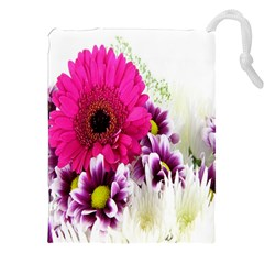 Pink Purple And White Flower Bouquet Drawstring Pouches (xxl) by Simbadda