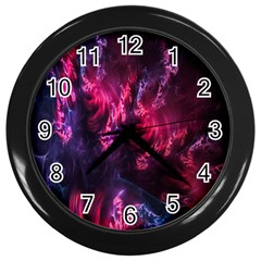 Abstract Fractal Background Wallpaper Wall Clocks (black)