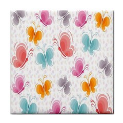 Butterfly Pattern Vector Art Wallpaper Tile Coasters by Simbadda