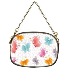 Butterfly Pattern Vector Art Wallpaper Chain Purses (one Side)