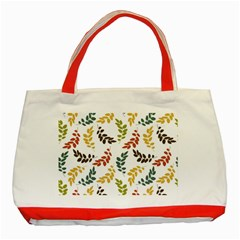 Colorful Leaves Seamless Wallpaper Pattern Background Classic Tote Bag (red) by Simbadda