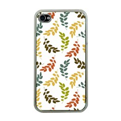 Colorful Leaves Seamless Wallpaper Pattern Background Apple Iphone 4 Case (clear) by Simbadda