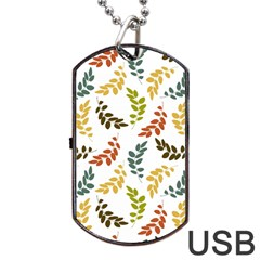 Colorful Leaves Seamless Wallpaper Pattern Background Dog Tag Usb Flash (one Side) by Simbadda
