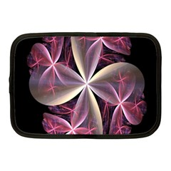 Pink And Cream Fractal Image Of Flower With Kisses Netbook Case (medium)  by Simbadda