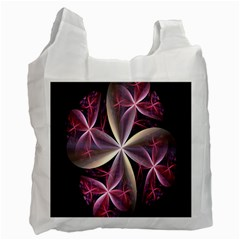 Pink And Cream Fractal Image Of Flower With Kisses Recycle Bag (one Side) by Simbadda