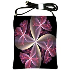 Pink And Cream Fractal Image Of Flower With Kisses Shoulder Sling Bags by Simbadda