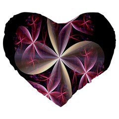 Pink And Cream Fractal Image Of Flower With Kisses Large 19  Premium Heart Shape Cushions