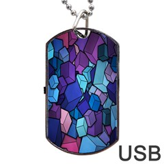 Cubes Vector Art Background Dog Tag Usb Flash (two Sides) by Simbadda