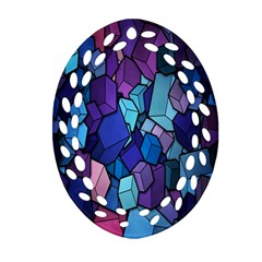 Cubes Vector Art Background Oval Filigree Ornament (two Sides) by Simbadda