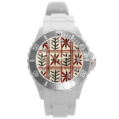 Abstract A Colorful Modern Illustration Pattern Round Plastic Sport Watch (l) by Simbadda