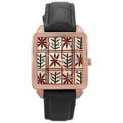 Abstract A Colorful Modern Illustration Pattern Rose Gold Leather Watch