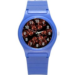 Fractal Chocolate Balls On Black Background Round Plastic Sport Watch (s) by Simbadda