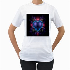 Blue Heart Fractal Image With Help From A Script Women s T Shirt (white) (two Sided) by Simbadda