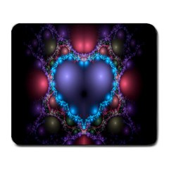 Blue Heart Fractal Image With Help From A Script Large Mousepads by Simbadda