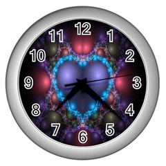 Blue Heart Fractal Image With Help From A Script Wall Clocks (silver)  by Simbadda
