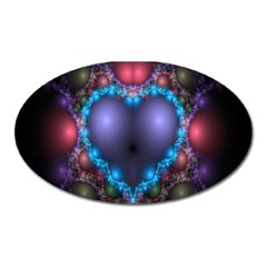 Blue Heart Fractal Image With Help From A Script Oval Magnet by Simbadda