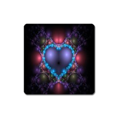 Blue Heart Fractal Image With Help From A Script Square Magnet by Simbadda