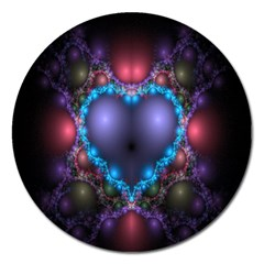 Blue Heart Fractal Image With Help From A Script Magnet 5  (round) by Simbadda