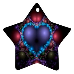 Blue Heart Fractal Image With Help From A Script Star Ornament (two Sides) by Simbadda