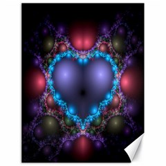 Blue Heart Fractal Image With Help From A Script Canvas 18  X 24   by Simbadda
