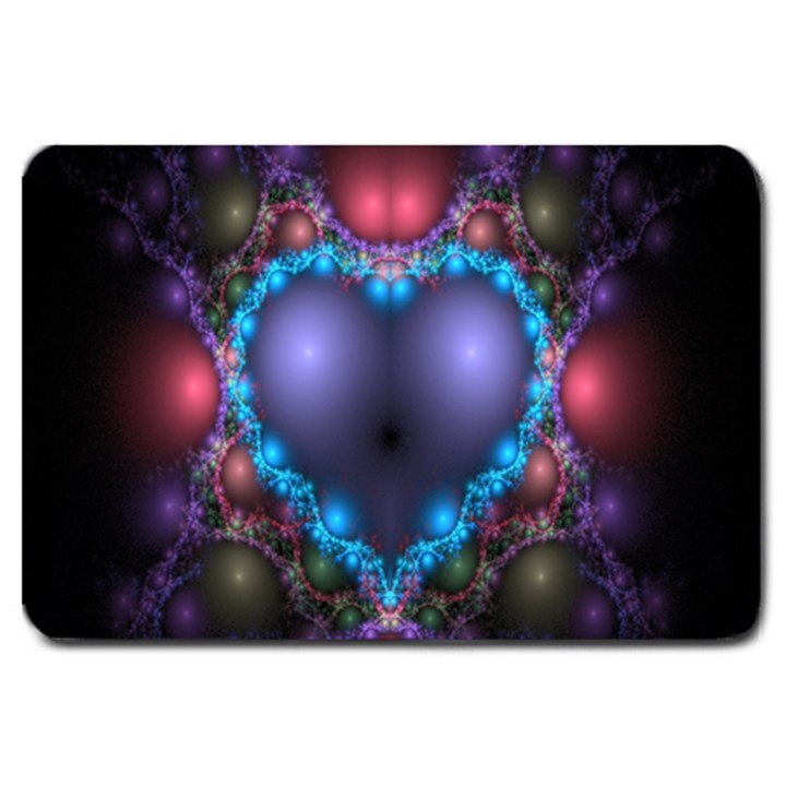 Blue Heart Fractal Image With Help From A Script Large Doormat