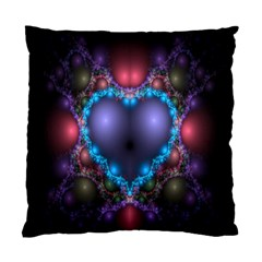 Blue Heart Fractal Image With Help From A Script Standard Cushion Case (one Side) by Simbadda