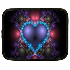 Blue Heart Fractal Image With Help From A Script Netbook Case (xl)  by Simbadda